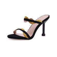 custom private label sude upper strap open toe ladies women slide heel sandals slipper