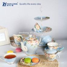 Hellblau griechende Pfingstrose Blumen Muster Kaffee mit Zucker Schüssel