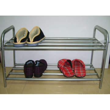 2 Shelves Metal Tube Shoe Rack
