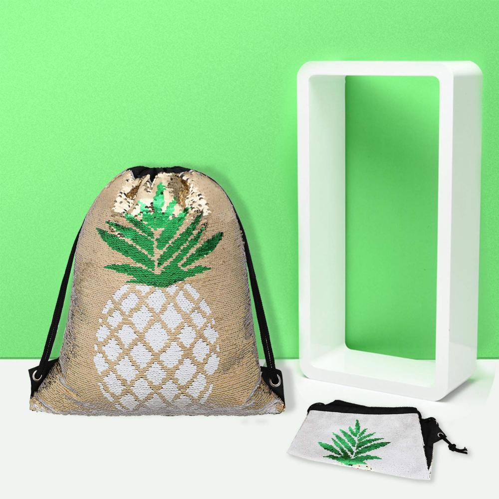 Pineapple Reversible Sequin Drawstring Bag 5