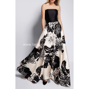 Strapless Prom Dress Ball Gown with Scarf
