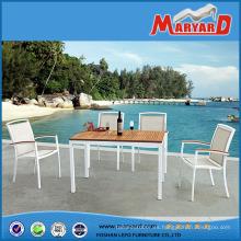 Sin muebles doblados para exteriores Juego de mesa de comedor con mesa de teca y juego de sillas de tela