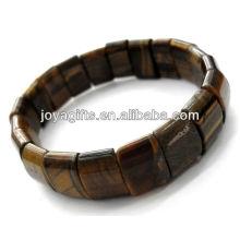 Tigereye pierres précieuses demi-lune Spacer perles stretch bracelet