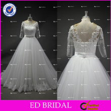 Real Photos Half Sleeve Ball Gown Ivory Tulle Wedding Dress Bridal Gown