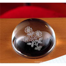 Dome Crystal Engraved Folwer as Paper Weights Gift (CP4010)