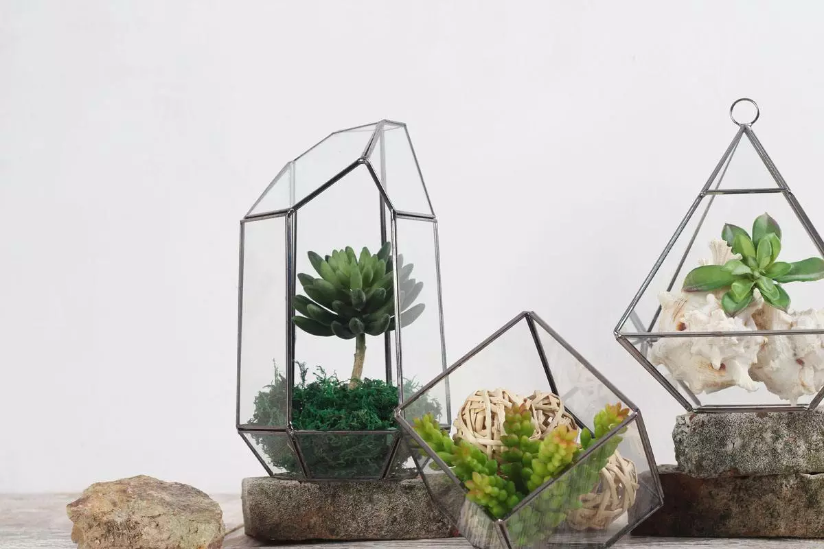 Geometric Glass Copper Terrarium