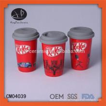 Umweltfreundliche keramische kaffeetasse mit Deckel, einschichtiger Schale mit Silikonhülse, Starbucks Kaffeetassebecher heißer Verkauf