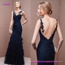 Sheer Overlay in Iilusion Tüll Meerjungfrau Kleid mit tiefen V-Back Fantasy Frill