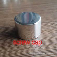 24mm Shiny Silver Aluminium Screw Bottle Cosmetic Lid/Cover/Cap