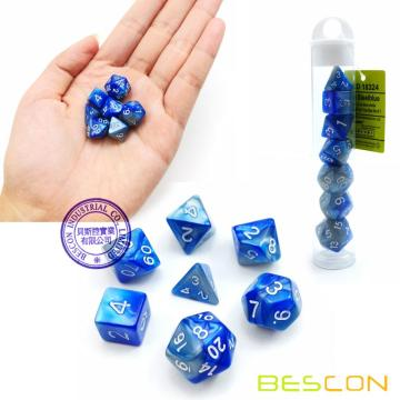 Bescon Mini Gemini Two Tone Polyhedral RPG Dice Set 10MM, Small Mini RPG Role Playing Game Dice Set D4-D20 in Tube, Steelblue