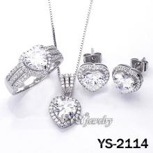 Micro pavimentar corazón CZ 925 joyas de plata esterlina (YS-2114)