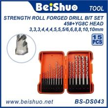 Os bocados de broca da torção do HSS 15PCS DIN338 HSS ajustaram-se com alta qualidade