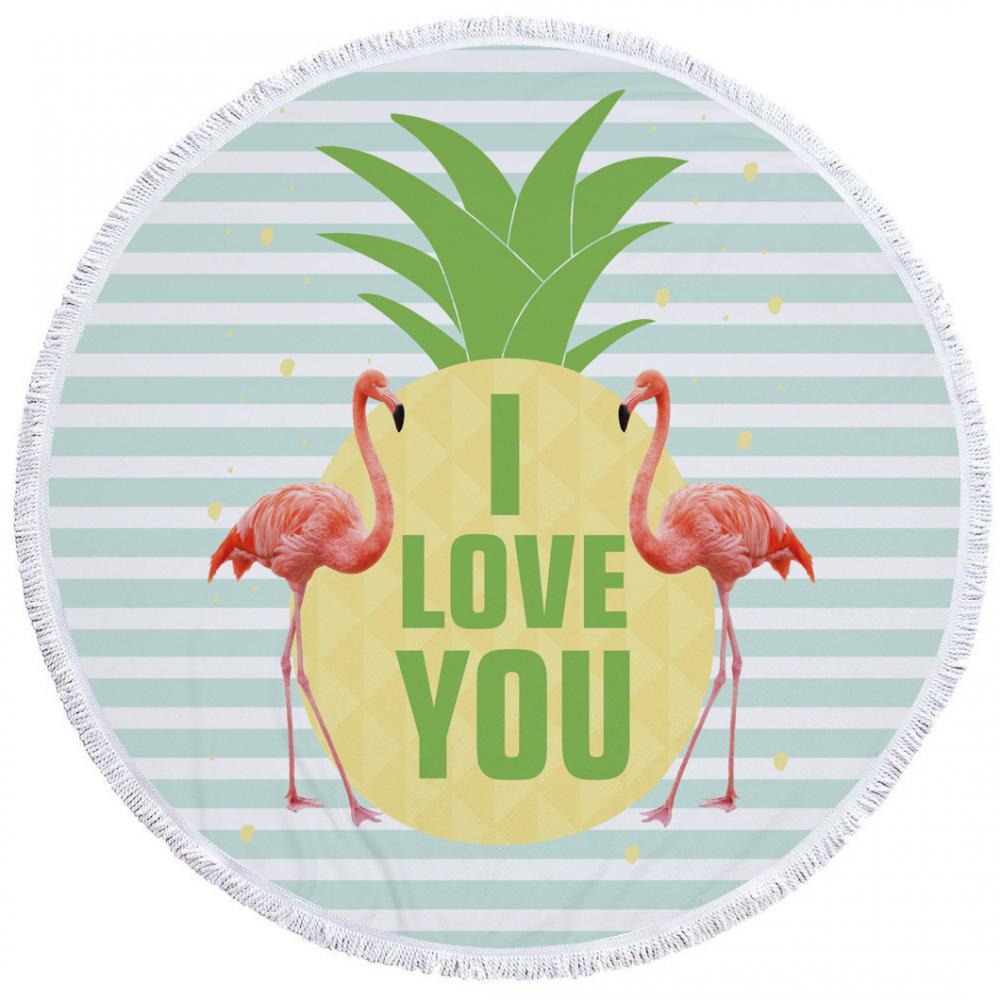 Pink Blue Flamingo Round Beach Towel