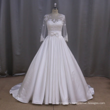 A-Line Satin Applique Wedding Dress