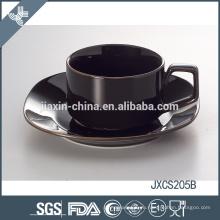 Оптовая хорошего качества роскошный Дубай черный керамический кофе Кубок и блюдце набор