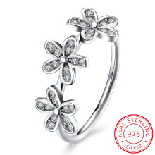 925 Sterling Silver Three Link Five Leaf Shape with Zircon Simple Ring for Young Girl