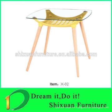 mesa de comedor popular superior de cristal de las piernas de madera