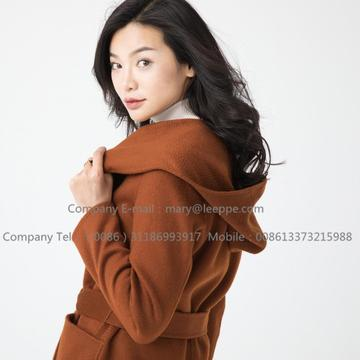 Hooded Medium Cashmere Coat For Women