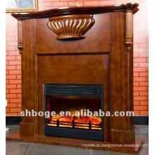 Bom artístico marrom MDF lareira elétrica de madeira elétrica