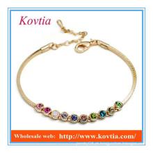 Moda 18k ouro multicolor cristal link charme pulseira de couro pulseira de silício
