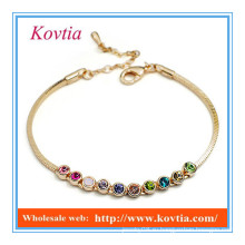 Мода 18k золото многоцветный кристалл ссылка шарм кожа браслет кремния браслет