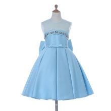 Vestido azul / blanco de la muchacha de flor para la boda y ceremonial