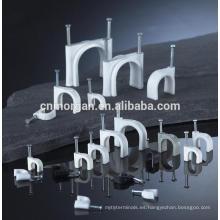 Pinzas de cable tipo gancho de 8 mm de plástico blanco para telecomunicación con clavos de hormigón,