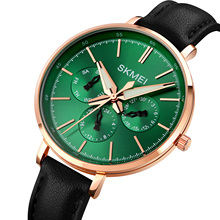 SKMEI 1665 Leather Strap Chronograph Quartz Watches Women New Hip Hop Jewelry Iced Out Watch