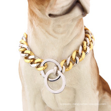 Factory Drop Shipping 15mm Stainless Dog Choker Dog Chains Gold Plated Dog Collar Pet Supplies