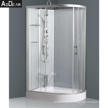 Aokeliya D Shaped Curved Offset Shower Cubicle with Seat and Shelf