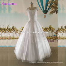 Ball Gown Wedding Dress Scopp Neck With Cap Sleeves High Quality Tulle Corset Lace Up Back Floor length Bridal Gown