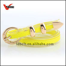 Yellow Invisible Edge with Metal Buckle Fashion Belts PU Belts