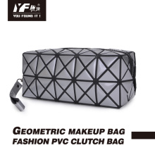 PVC clutch bags cosmetic zipper geometric makeup bag