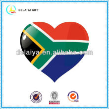 The South Africa flag love heart tin badge for national day