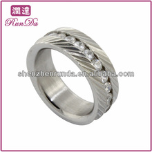 Hot Quality Stainless Steel Ring Clear Cubic Zirconia Round Rings for mens