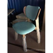 Nouvelle chaise bistro en bois design en tissu vert souple (FOH-BCA27-C)