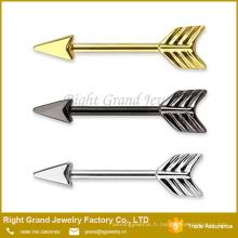Gros Piercing Bijoux Arrow en forme de mamelon Barbell anneaux