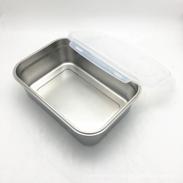 reusable rectangular stainless steel airtight storage container for food