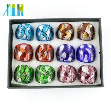 Anéis de vidro Handmade 12pcs / box de Lampwork da folha de prata de Dichriol, MC1002