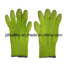Hola Viz amarillo trabajo guante con dedo PU recubierto (PN8019)