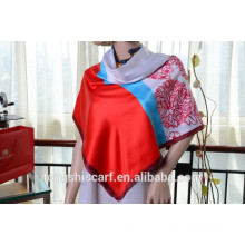 Newest fashionable panel pattern printed square scarf and shawl hot selling scarf
