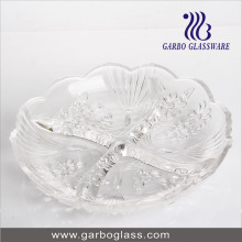 """9"""" 4 Section Glass Tray Glass Plate"""
