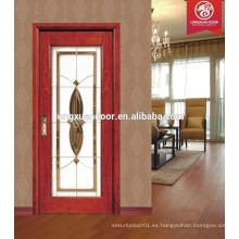 Nuevos cuadros de la puerta de madera sólida del diseño, vidrio de puerta de madera, precio de la puerta de cristal