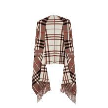 Women's Tassel Plaid Poncho Jacquard Shawl Cape Sweater