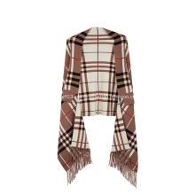 Suéter feminino Tassel Plaid Poncho Jacquard Xale