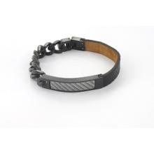 Moda design preto couro genuíno com charme pulseira de cadeia