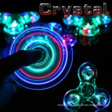 Novo Crystal LED Hand Fidget Clear Flash Light EDC Finger Tri Spinner para Autismo ADHD Alívio Focus Ansiedade Stress Relax Gift Toys
