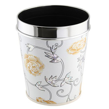 Fashion Leatherette Diseño de acero inoxidable Top Rim Trash Bin