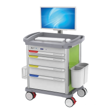 Hospital ABS Plastic Computer Monitor Medical Workstation Trolley