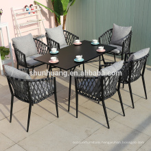 Hot sale  outdoor patio furniture garden rope furniture sets webbing chair dining sets